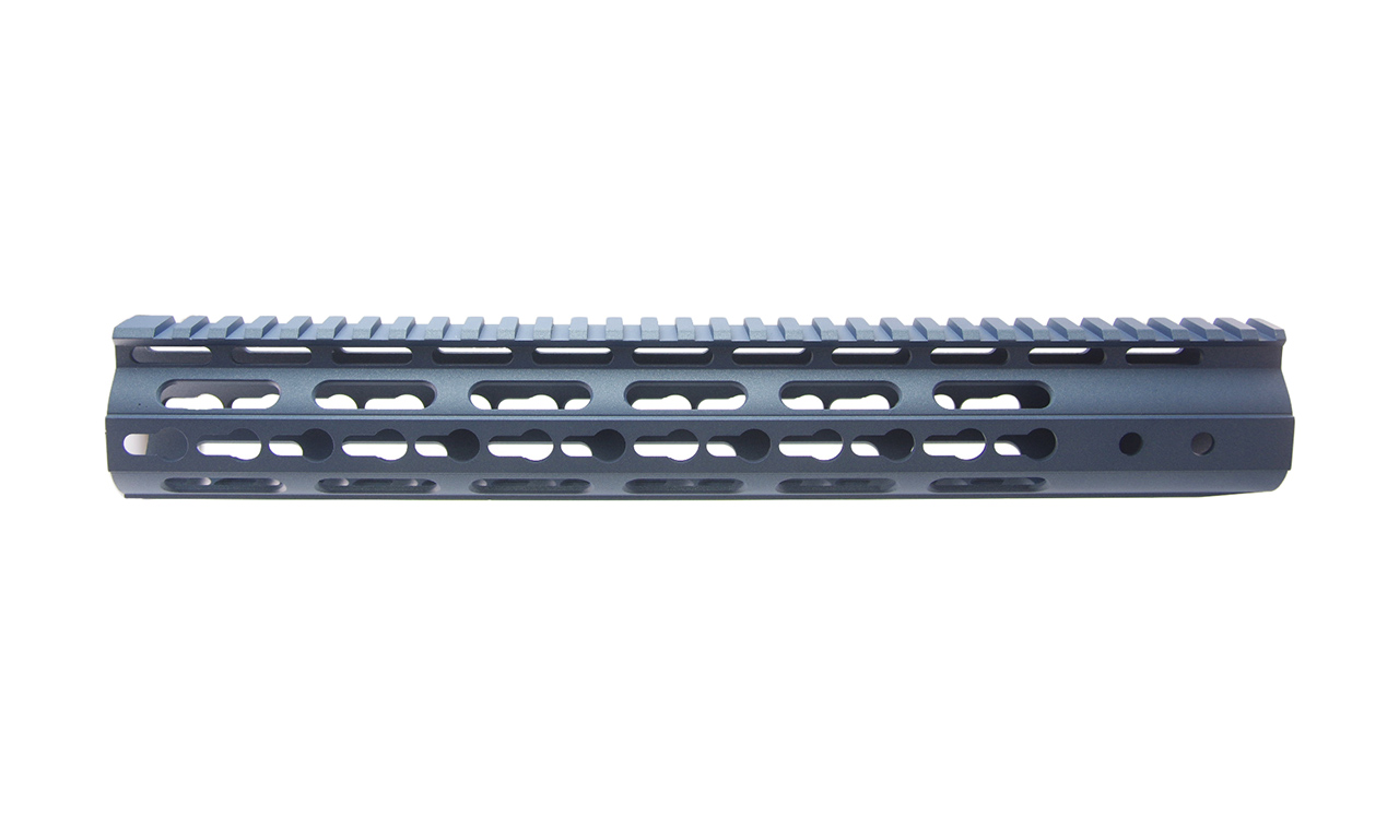 AR15 3 Sided KeyMod Hand Guard, blue titanium cerakote