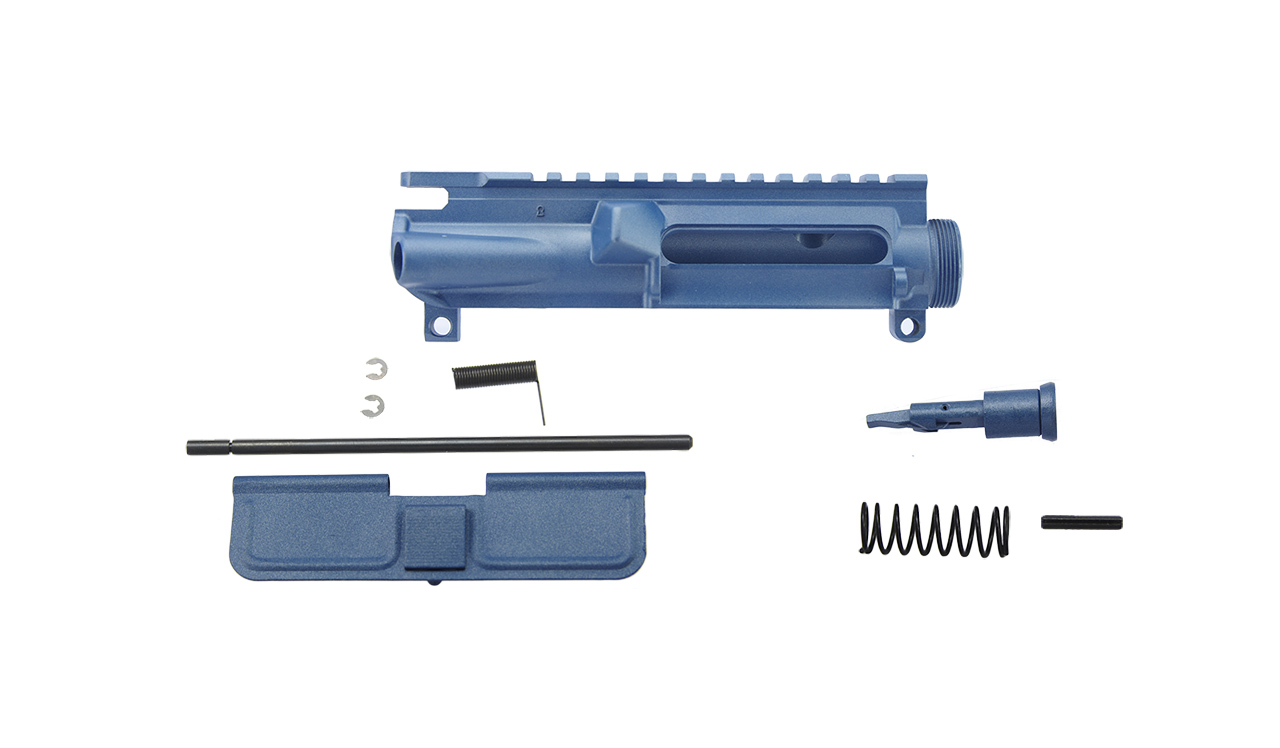 AR15 complete upper receiver w/ forward assist and dust cover, blue titanium cerakote