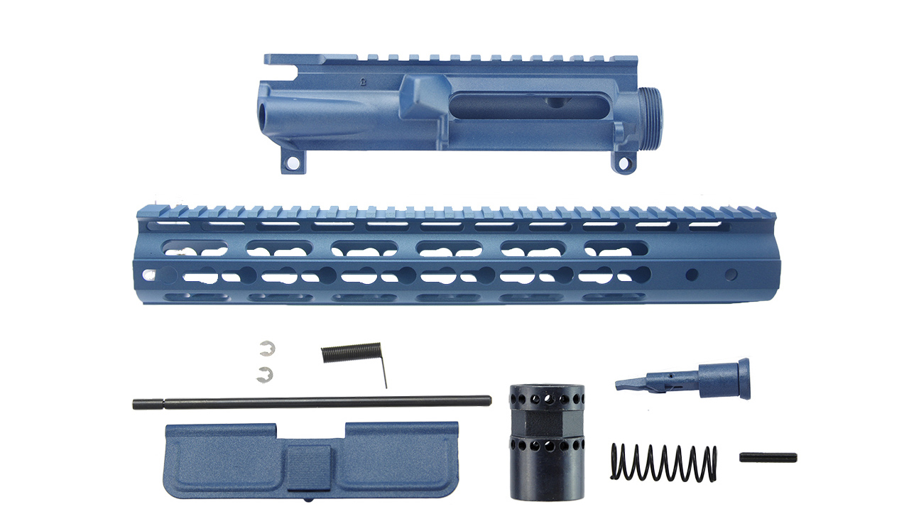 AR15 3 Sided KeyMod Handguard Upper Receiver Kit Blue Titanium Cerakote