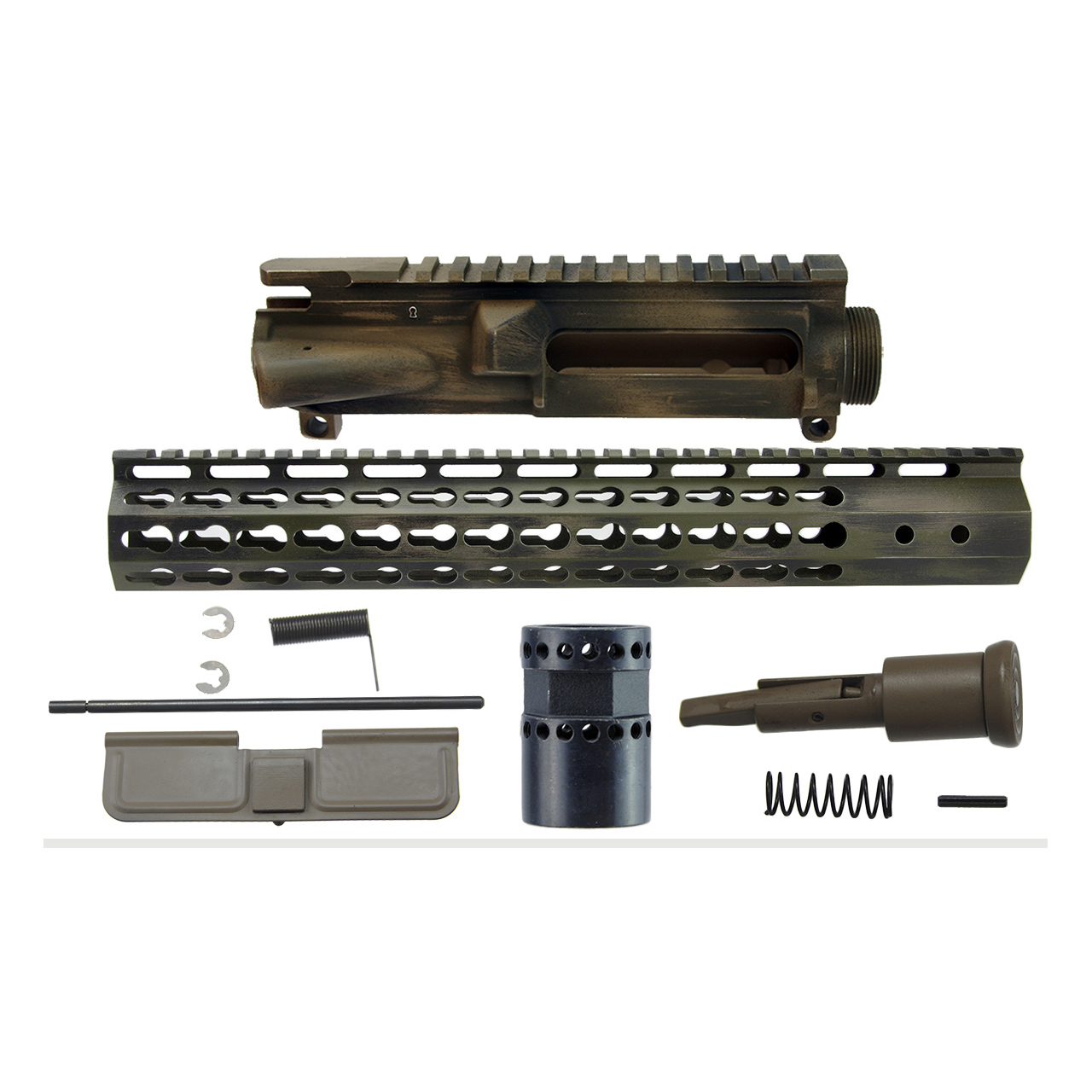 AR15 7 Sided keymod upper receiver Kit, Battle Worn camouflage cerakote