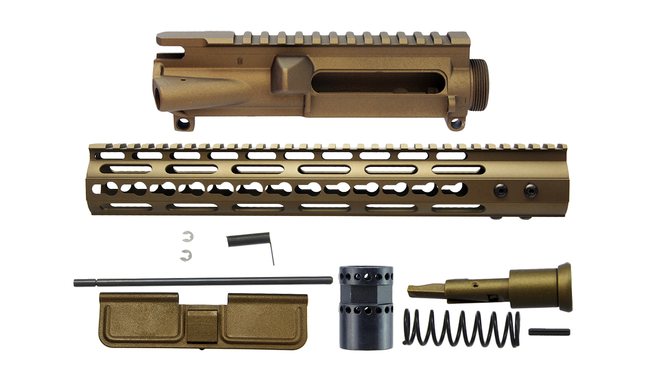 AR15 3 Sided KeyMod upper receiver Kit, Burnt bronze cerakote