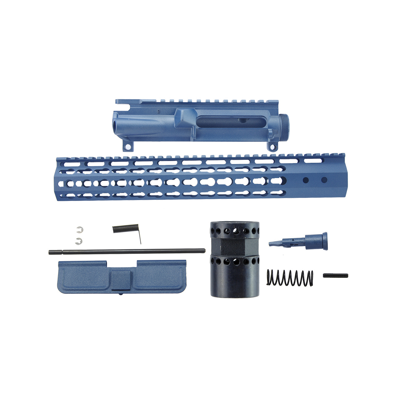 AR15 7 sided upper receiver kit, blue titanium cerakote