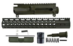 AR15 Upper Receiver Kit w/ 7 Sided KeyMod, Olive Drab Green Cerakote
